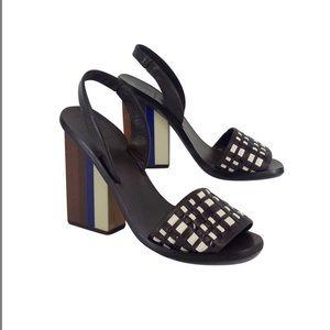 Tory Burch Woven Color Block Heels Sandals, Brown